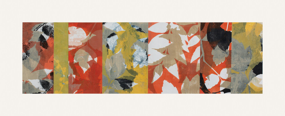 "Autumn Haze 4, 11"" x 30,"" Monoprint collage"