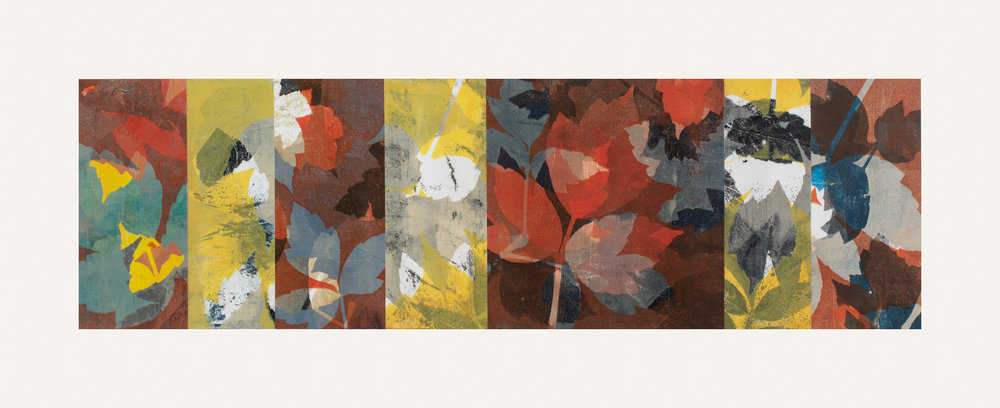 "Autumn Haze 5, 11"" x 30,"" Monoprint collage"
