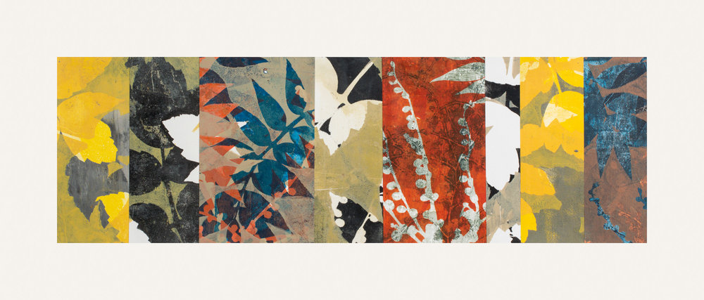"Turning Point 6, 11"" x 30,"" Monoprint collage"