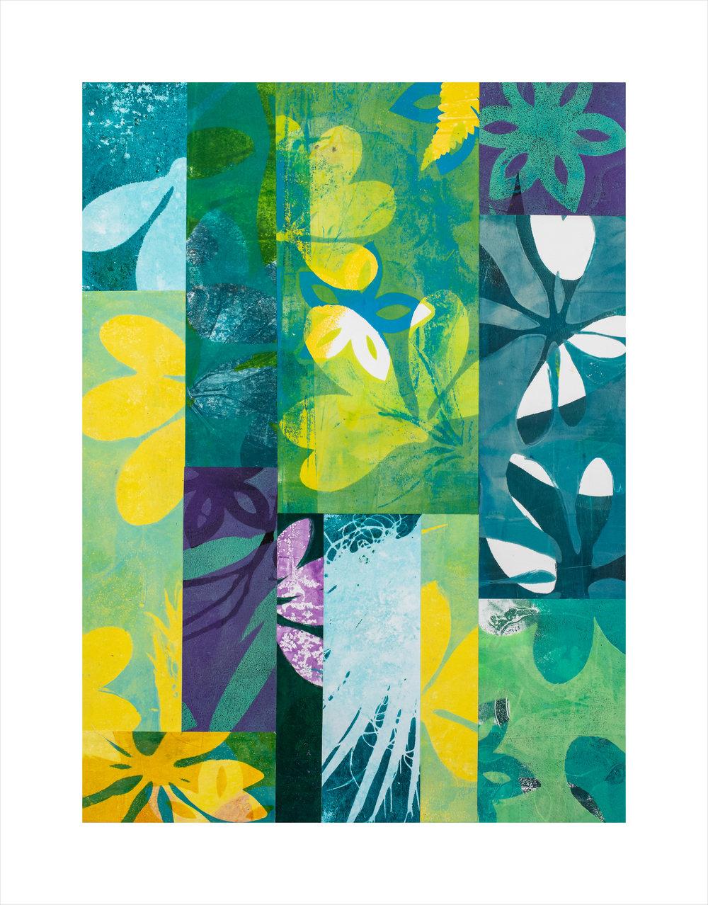 "Sacred Grove, 16"" x 20,"" Monoprint collage"