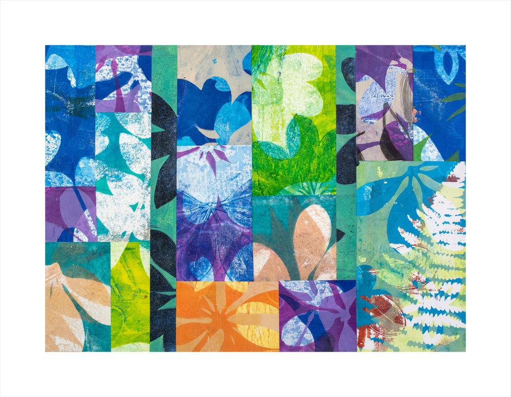 """Rainshadow, 20"""" x 16,"""" Monoprint collage"""