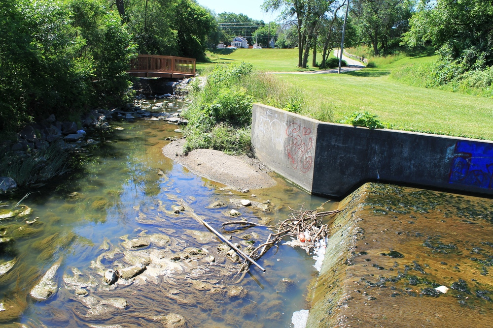 Pike Creek following through Washington Park in the City of Kenosha