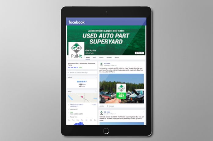 "ROLE: COPYWRITER and SOCIAL MEDIA MANAGER    PROJECT COPY:   ""Superyard Super Savings.""   Opening hours, vehicle inventory, sales, and reviews, creating engaging, informative content and managing an active community.    CLIENT:  GO PULL-IT     AGENCY:  WINGARD CREATIVE"
