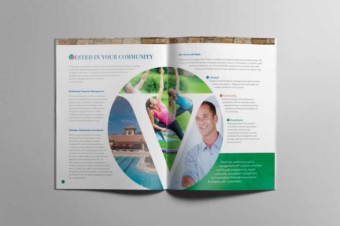 "ROLE: COPYWRITER    PROJECT COPY:   ""Vested in Your Community.""   Bringing three divisions of this property management company  into one cohesive community.   CLIENT:  V  ESTA     AGENCY:  WINGARD CREATIVE"