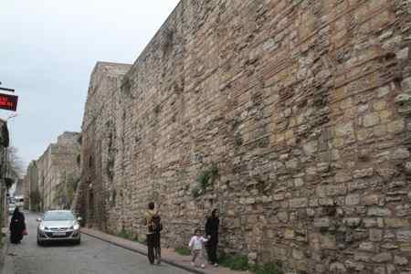 Walking past the City Walls.