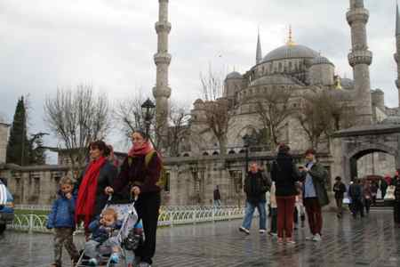 Leaving the Blue Mosque.