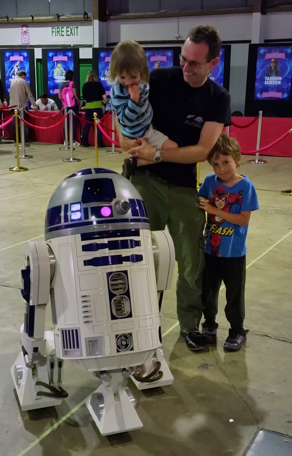 Luke was excited and then scared of meeting R2 D2