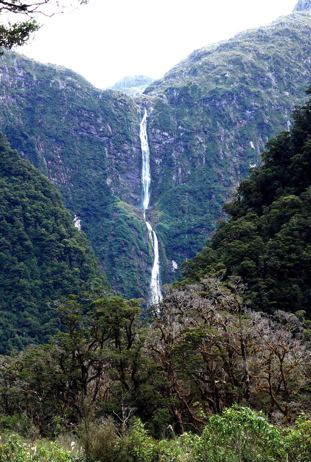Sutherland falls from several kilometers away