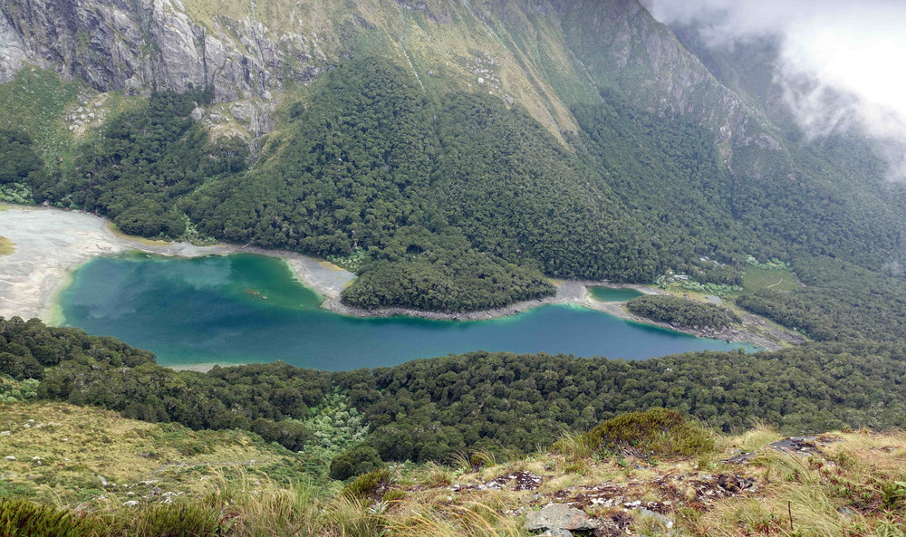 Looking down at Lake Mackenzie, with the Doc hut over on the right