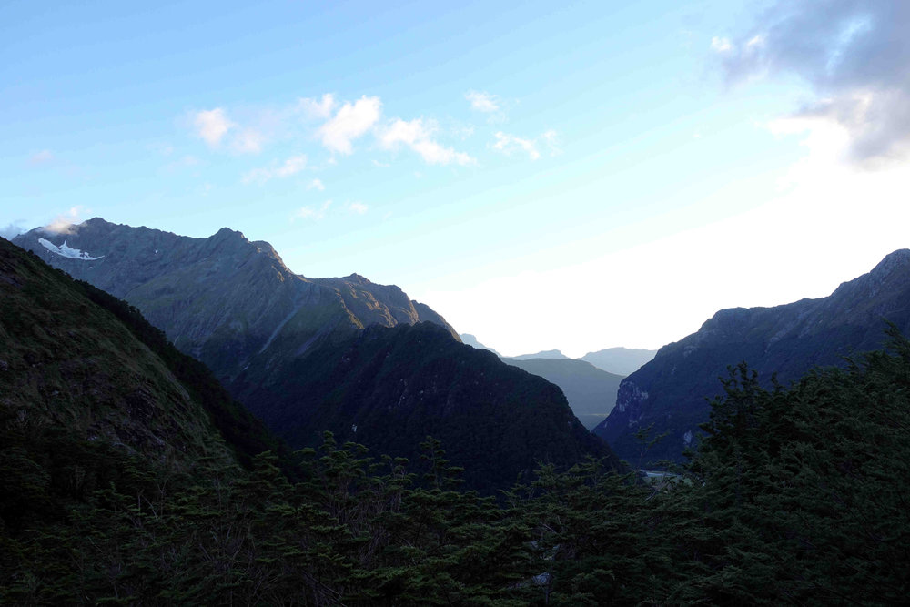 Morning view from Routeburn Falls Hut