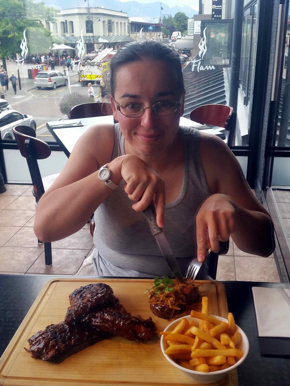 Julianne enjoying her steak!