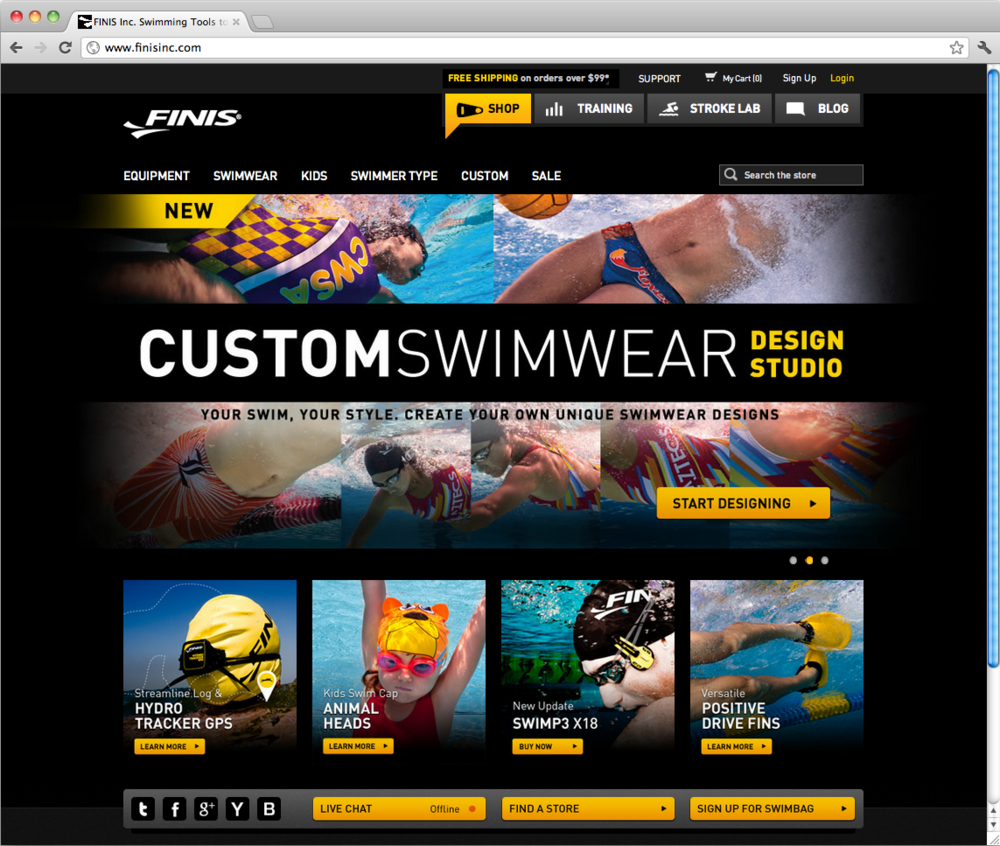 Homepage with new navigation & featuring custom swimwear hero