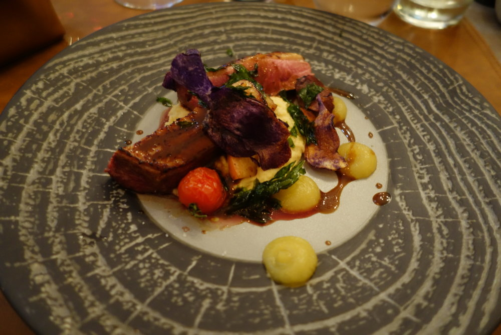 Duck Breast with Roasted Apples, chickpea and hazelnut mousseline