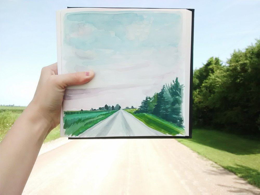 sketchbook-lanscape painting of Iowa road.jpg