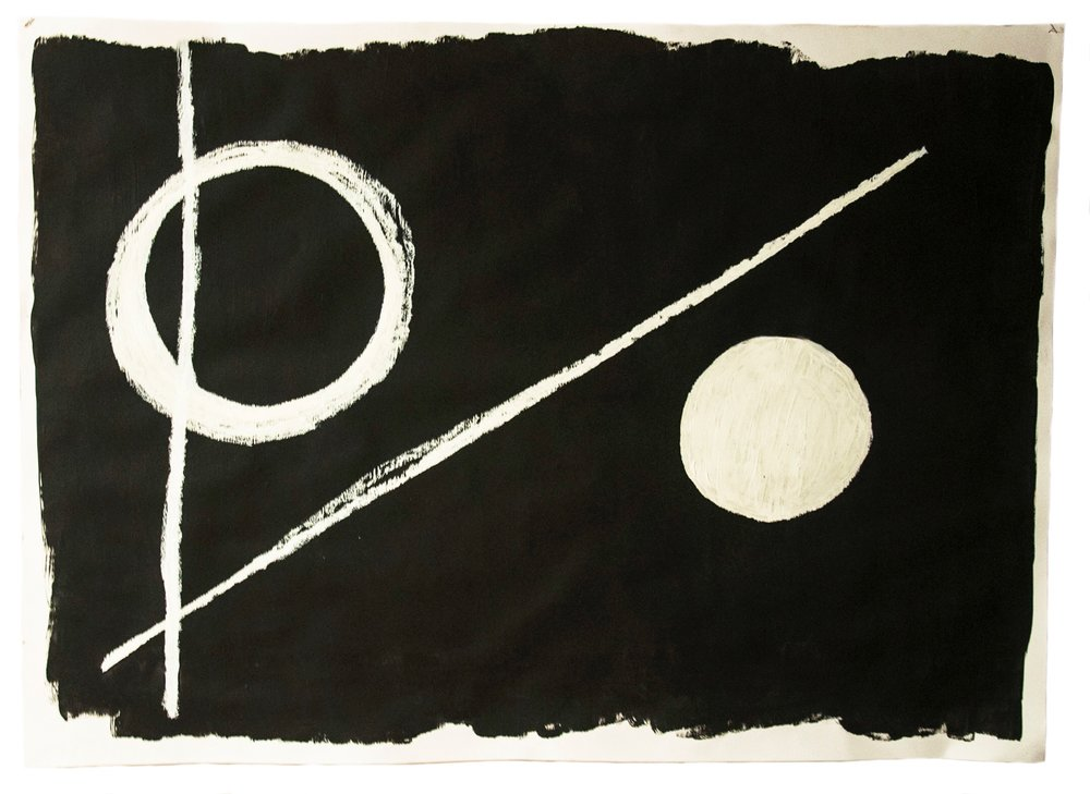 "Title: Fear O the Sun Series: Visions in the Dark Date: 2013 Dimensions: 50""x38"" Materials: R&F White Pigment Oil Stick on black Suede Wall Paint on White Paper. Drawing made after listening to a 21 minute recording from a hypnosis session. Drawing made in a hypnotic state."