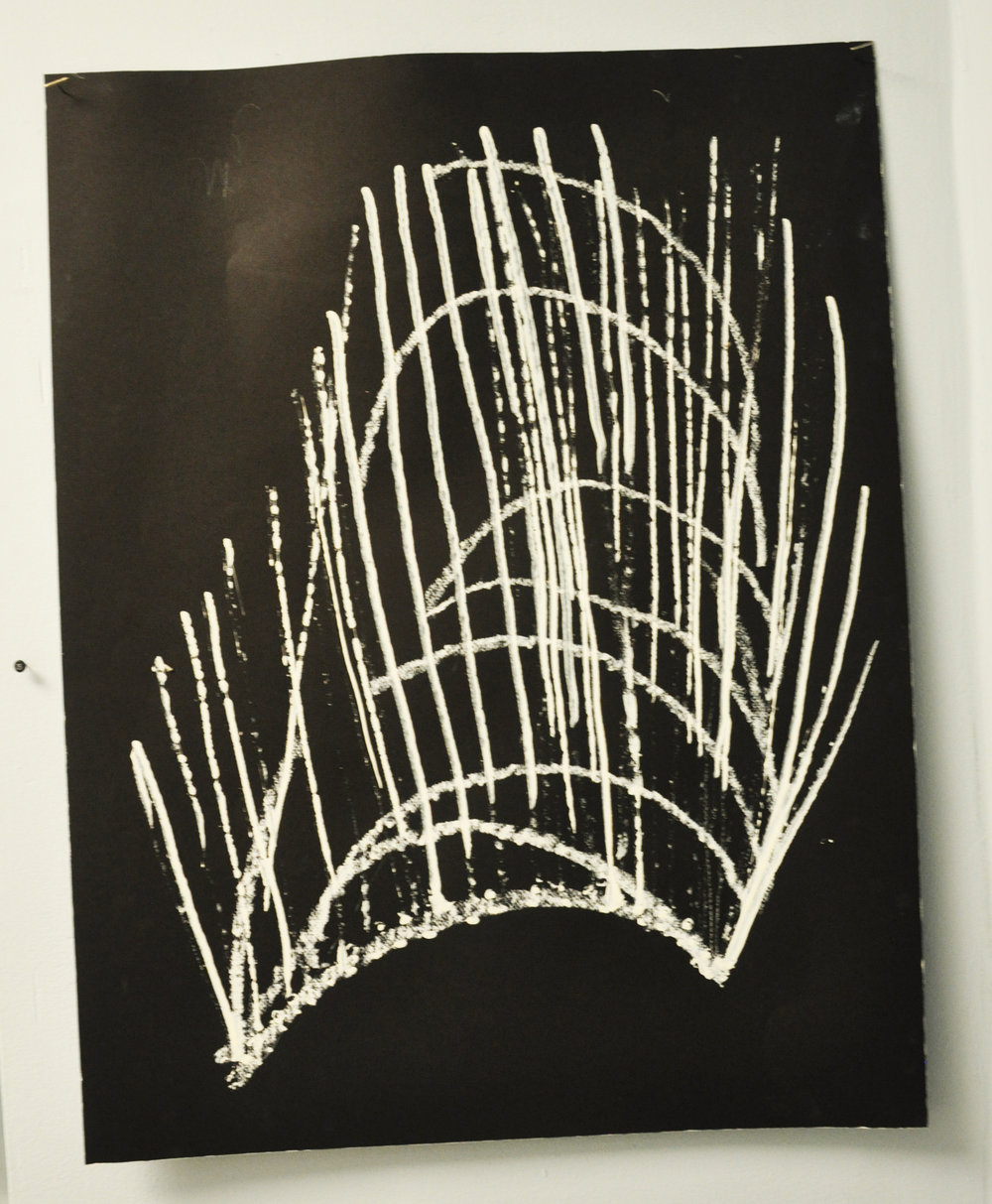 "Title: The Gate Series: Visions in the Dark Date: 2013 Dimensions: approximately 18""x 12"" Materials: R&F White Pigment Oil Stick on black Suede Wall Paint on White Paper. Drawing made after listening to a 21 minute recording from a hypnosis session. Drawing made in a hypnotic state."