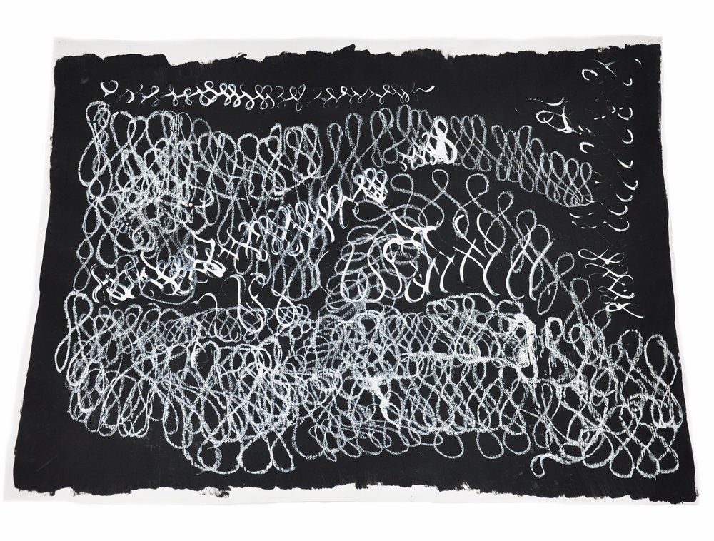 "Title: Infinity Series: Visions in the Dark Date: May 7th, 2013 Dimensions: 50""x38"" Materials: R&F White Pigment Oil Stick and White Vinyl Paint on black Suede Wall Paint on White Paper. Drawing made after listening to a 21 minute recording from a hypnosis session. Drawing made in a hypnotic state."