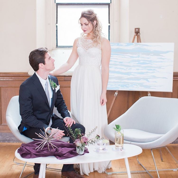 Cincinnati Tuesdays Together  Styled Photoshoot : - It was an honor incorporating my original custom art work in the Cincinnati Tuesdays Together Stylized Shoot. Art has a beautiful place in weddings, and look forward to having the opportunity to work with future brides and grooms.