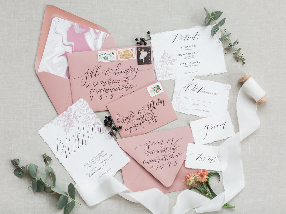Hey Wedding Lady Feature: - Blush and Mauve Stylized Shoot was featured on Hey Wedding Lady blog. Loved teaming up with Jen from Jen K Calligraphy to create a custom envelope liner that paired beautifully with her stunning invite suite.