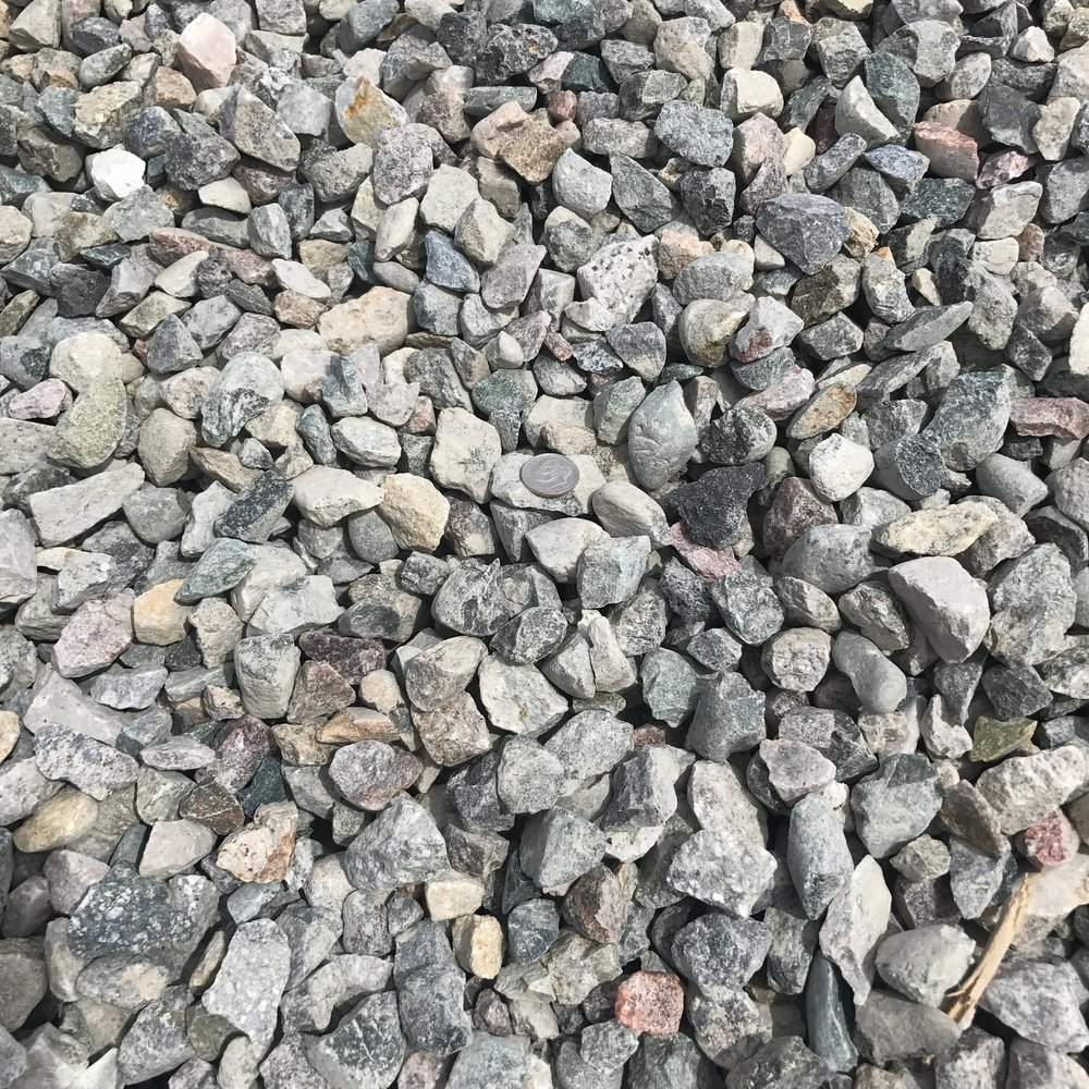 """1"""" Crushed  Crushed rock used for drainage backfill, mixing concrete and landscaping"""