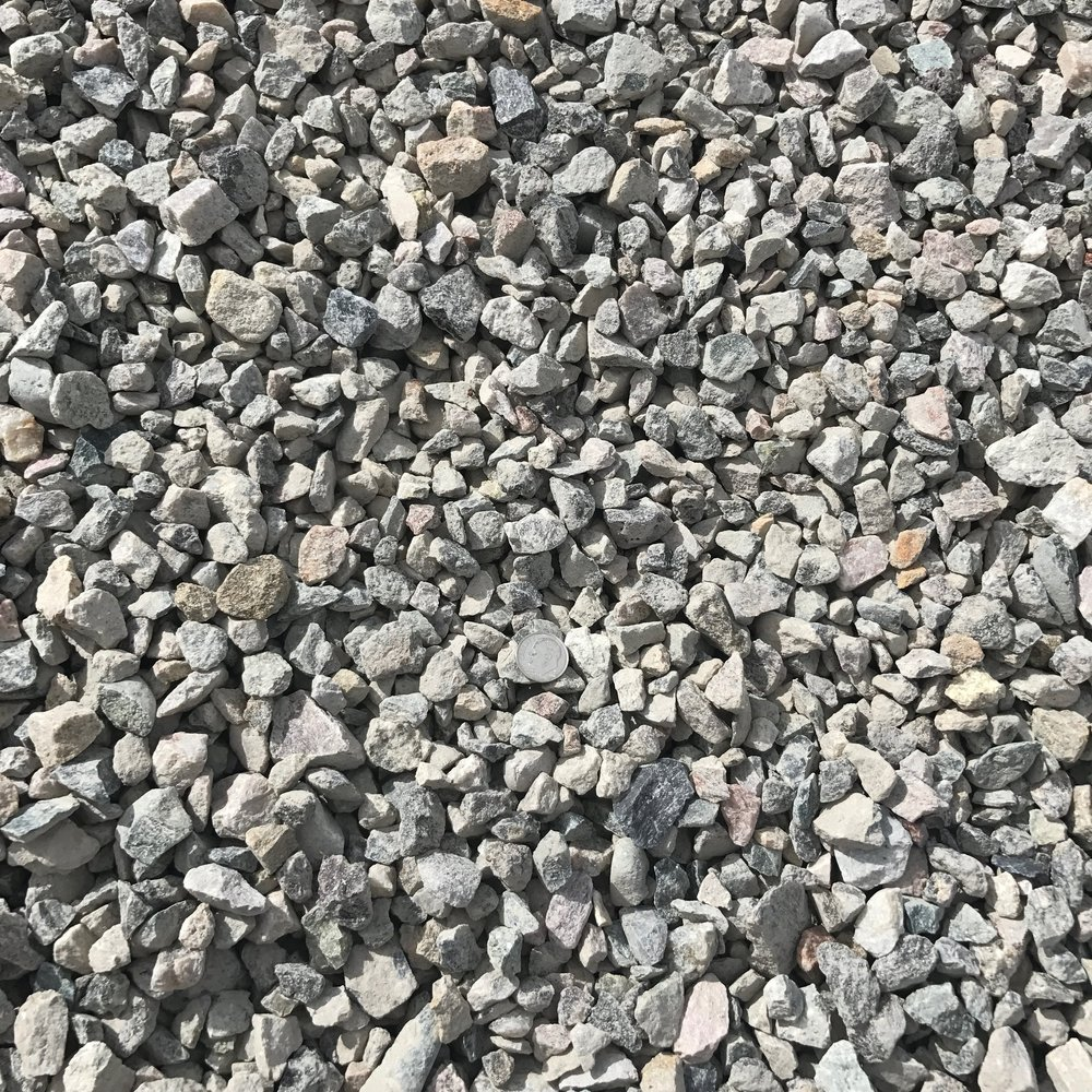 """1/2"""" Crushed  Crushed rock used for drainage backfill, mixing concrete and landscaping"""