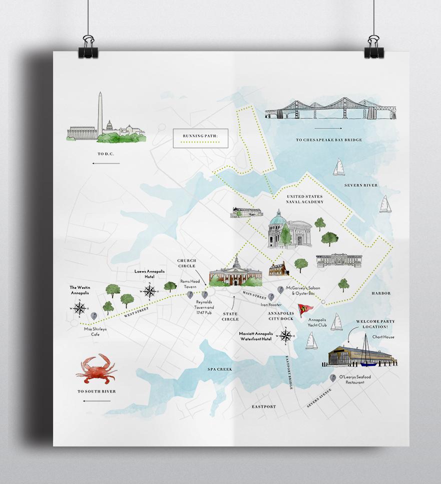 Annapolis Wedding Custom map illustration