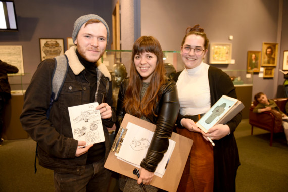 The Isle of Man Drawing club host an informal drawing afternoon at the Manx Museum - pictured left to right: Ryan Morrison, Kim Gee and Paige Goldsmith