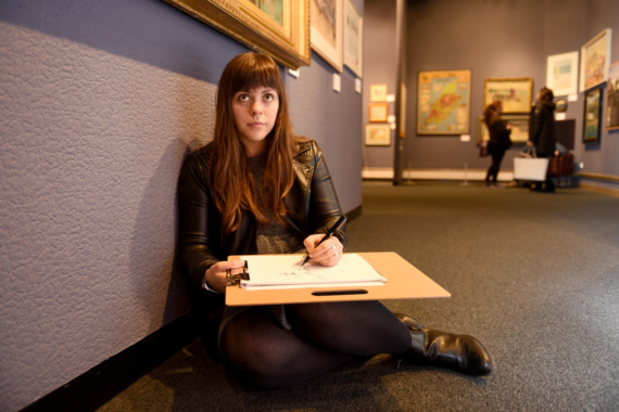 The Isle of Man Drawing club host an informal drawing afternoon at the Manx Museum - pictured is artist Kim Gee