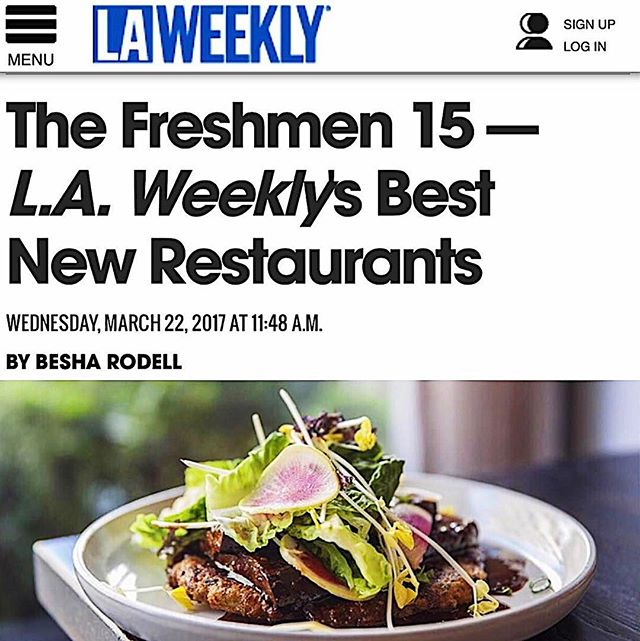 Thank you @LAWeekly for the awesome feature in your 99 Essential Restaurants issue! We're beyond excited to have made the cut for your #Freshmen15 list alongside some amazing new restaurants. Here's to the freshmen! | #ervenrestaurant