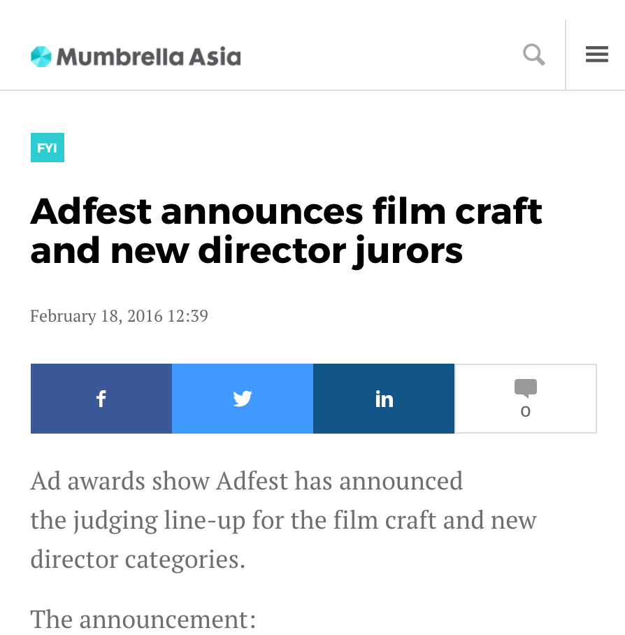 MUMBRELLA Adfest Announces Film Craft And New Director Jurors