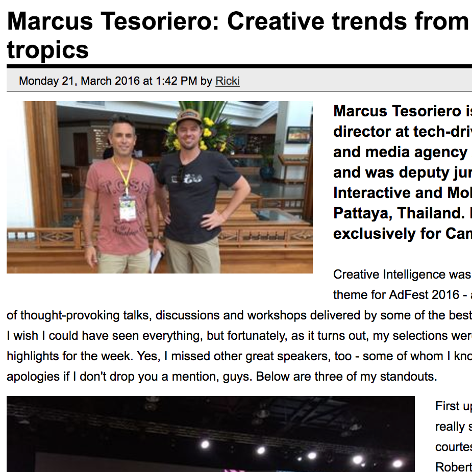 CAMPAIGN BRIEF  Marcus Tesoriero: Creative trends from the tropics