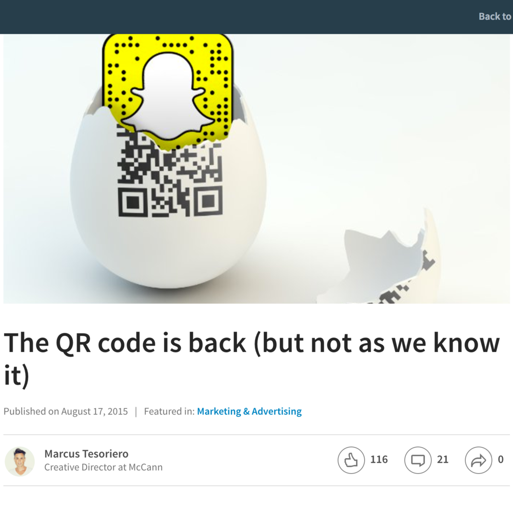 LINKED IN The QR Code is Back (But Not As We Know It)