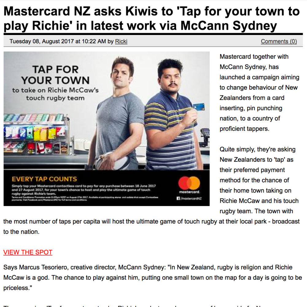 CAMPAIGN BRIEF Mastercard NZ asks Kiwis to 'Tap for your town to play Richie' in latest work via McCann Sydney