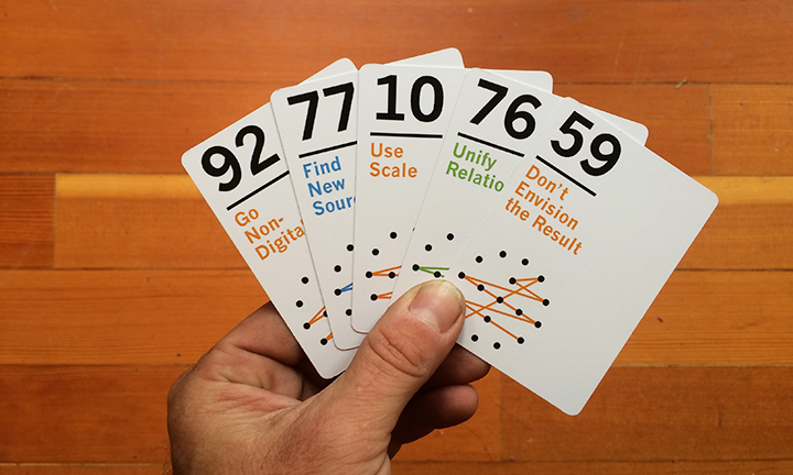 "Creative connection cards         What led you to your latest project or focus?     The book proposal came from years of peer reviewing books for the publisher. They asked me for my book ideas, and we workshopped it from there. I always took the time to be thorough and thoughtful about reviews as I wanted them to be useful, so I guess being conscientious paid off in the end. Which is nice!  The creative connection cards were my colleague Jeremy's idea. He came back from a conference with a thing that was kind of like a deck of cards, but not really, and he read a book about creativity research and got all fired up. I can't remember which of us said ""heck, we can do that!"" we were in the middle of working on it before we knew it. It's really been wonderful to work with someone else. Doing my thesis was a lonely journey, I like having to defend my ideas and argue him around to my point of view.        How do you approach creativity in your life?   ""Conscientious"" was the word most often used in my school reports and I think I am the same about creativity (personal or professional) now I think about it. It's a process and you have to keep working diligently at it or it won't happen for you. Ideas, fragments, drafts come together if you just keep hacking away at them. And by that I mean throwing stuff away too. In writing I have come to see that it's true there is mainly ""re-writing"".  In design I have become very suspicious of the idea of ""inspiration"" that happens like a lightning strike. Sure it happens, and it's great when it does, but there are tools and methods you can use to make creativity happen. Maybe it's a designer thing where you have to be creative for a living but I don't think discipline, organisation and work are the enemy of creativity, I think they fuel and support it."