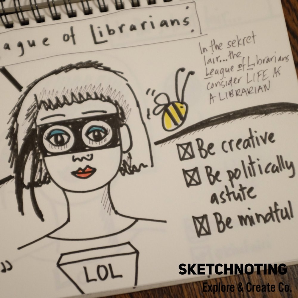 What's some advice you would offer to someone who is struggling to find their creative spark?    For me finding ways to be creative in my day job, is a priority. I am fortunate that as a librarian and a maker, this is possible. I believe it enables me to be better at my job, stay engaged but it also brings me joy. Sketchnoting a meeting can elevate it from the mundane to something a lot more interesting. I'd encourage you to try it at your next meeting or conference. You could even sketchnote a podcast or an article you are reading. I am sure like me you will find it enriches your practice.
