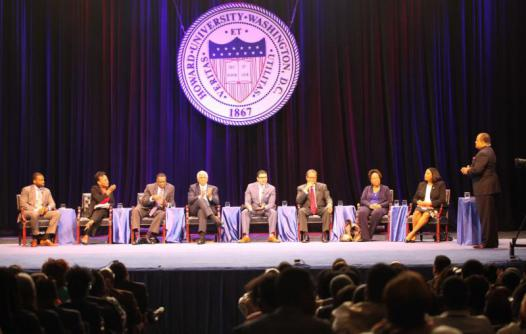 From Left to Right: Shavar Jeffries(President of Democrats for Education Reform), Elizabeth Davis (President of the Washington Teachers Union), George Parker (former President of the Washington Teachers Union), Hilary O. Shelton (Director to the NAACP's Washington Bureau and Senior Vice President for Advocacy and Policy), Dr. Steve Perry (Principal of Capital Preparatory Magnet School), Rudy Crew (President of Medgar Evers College), Dr. Ramona Edelin (former Director, DC Association of Charter Public Schools) and Dr. Dawn Williams (Interim Dean ofthe School of Education at Howard University)