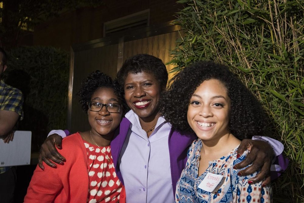 Sophie Sabin, left, Gwen Ifill and Kennedy Huff meet during PBS NewsHour's Student Reporting Labs conference in August 2014. Photo Credit: Seth Ram