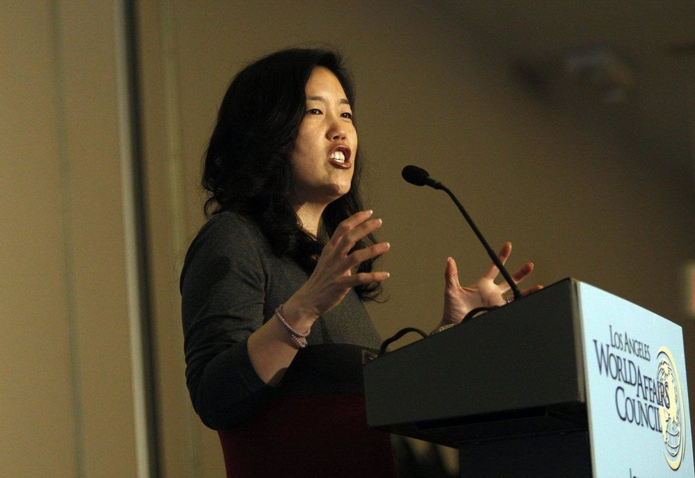 Michelle Rhee gives speech at L.A. World Affairs Council meeting. PHOTO CREDIT: ALLEN J. SCHABEN/LA TIMES VIA GETTY IMAGES