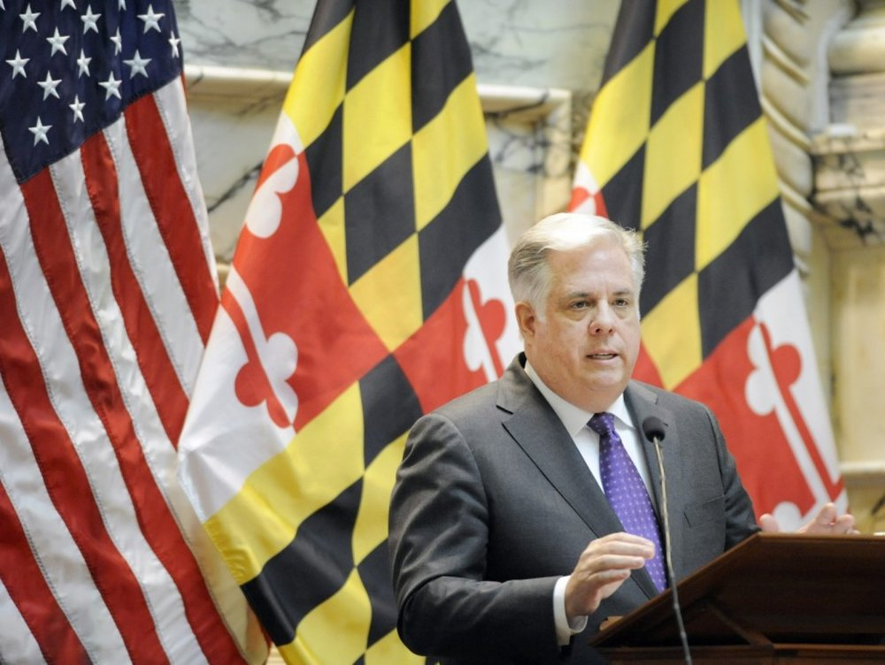 Maryland Gov. Larry Hogan delivers his State of the State address Wednesday, Feb. 4, 2015 in Annapolis, Md. (AP Photo/Steve Ruark)