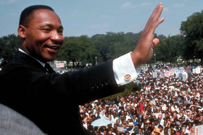 "Dr. Martin Luther King Jr. delivers his ""I Have A Dream"" speech to a crowd gathered at the National Mall in Washington, DC. Getty Images"