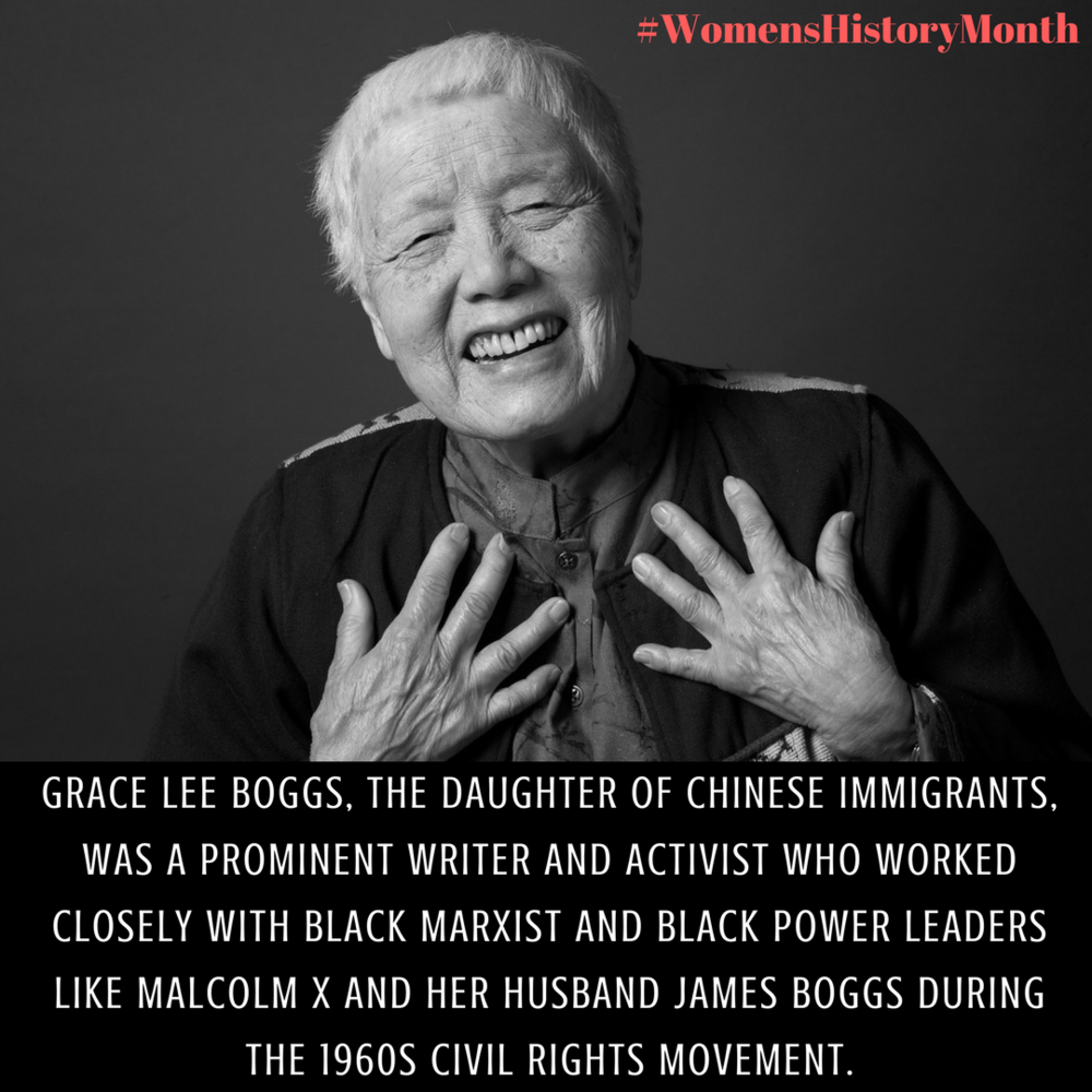 Grace Lee Boggs, the daughter of Chinese immigrants, was a prominent writer and activist who worked closely with black Marxist and black power leaders like Malcolm X and her husband James Boggs during the 1960s Civil.png