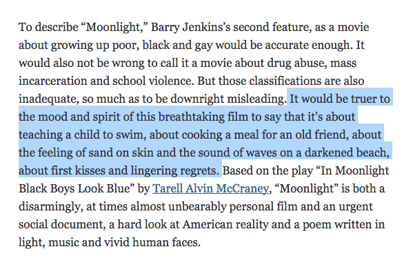 An excerpt from A. O. Scott's beautiful review of Moonlight for the The New York Times