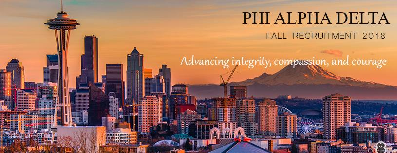 "As the largest, professional legal fraternity in the world, Phi Alpha Delta Law Fraternity fulfills our mission - ""Service to the student, the school, the profession and the community""- by helping students make informed decisions about their education, connecting them with mentors and fostering supportive communities in and out of school.  _________________________________________  Fall 2018 Recruitment Events  Information Session 