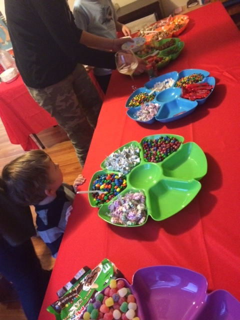 Just some of the candy at our party:  M&Ms, mini M&Ms, peppermints, gum drops, Skittles, Starbursts, Hershey Kisses, mini marshmallows, Twizzlers, Lifesavers, bubble gum, Hot Tamales, Mike & Ike's, pretzels, red hots and jelly beans