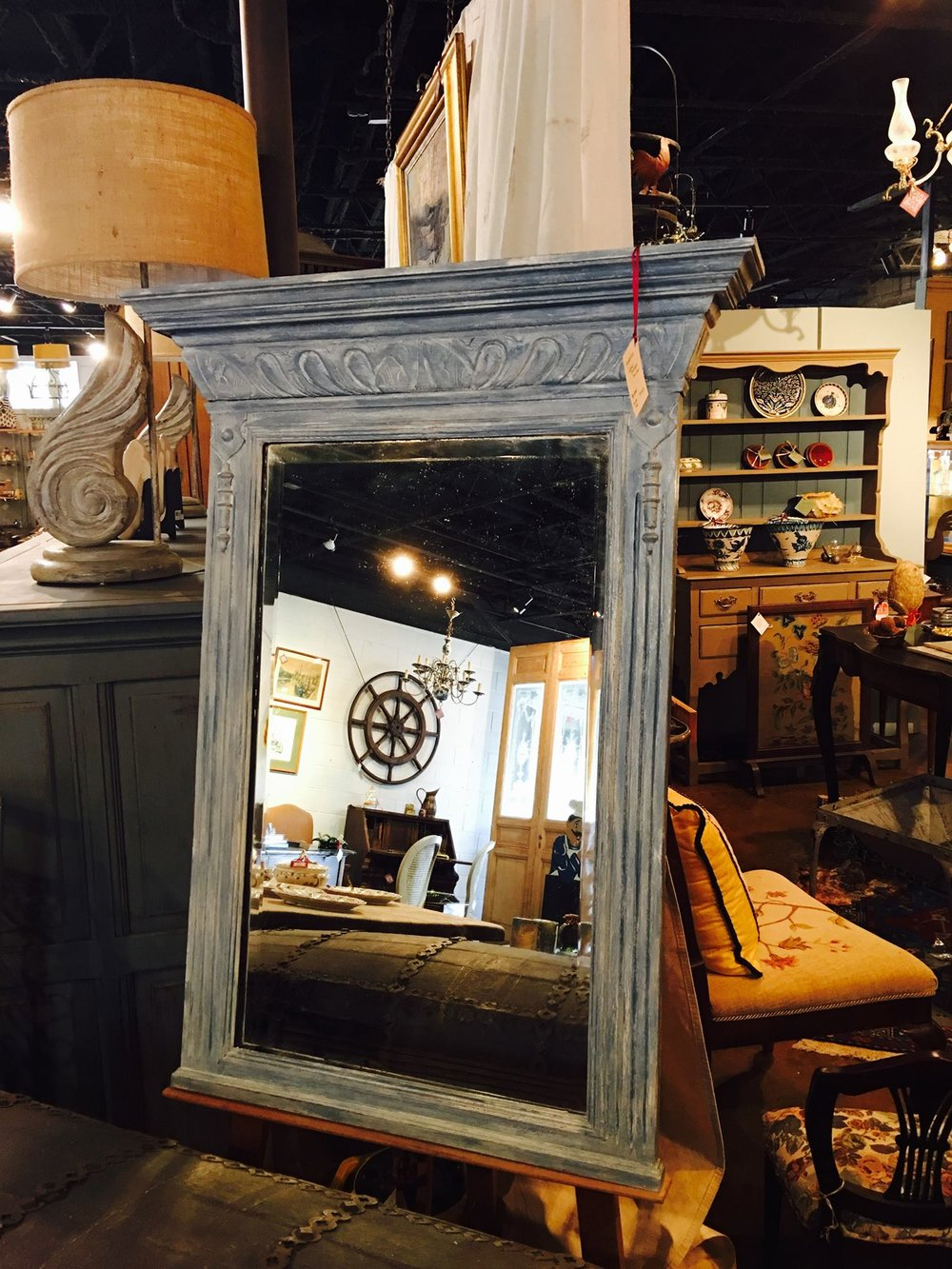 Same mirror, new look!!! Come in and check out this gorgeous Louis Phillipe Mirror, circa 1900, painted with our Maison Blanche chalk paint! Plus, we just received a new shipment of paint and new products!!! 2195 Calder Ave, Beaumont Tx, 77701, 409.835.3080.  #burnsantikhaus   #chalkpaint   #shopsmall   #vintage   #europeanimporters