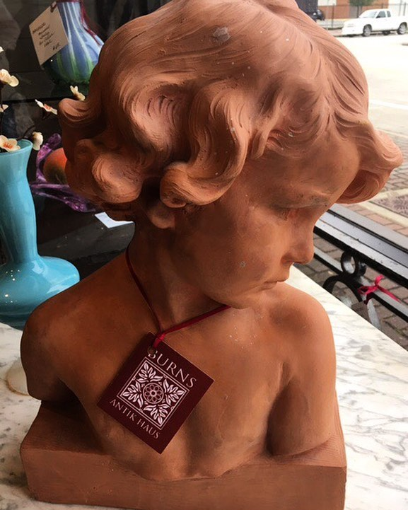 "Precious little lass, terra cotta bust, artist signature Jean Camus, 15"" height. 2195 Calder Ave, Beaumont Tx, 77701, 409.835.3080  #vintagepaint   #burnsantikhaus   #europeanimporters  #burnsantikhaus  #vintagefinds  #europeanimporters  #beaumont   #antiques   #european  #imports   #treasures   #setx   #vintage   #handpicked   #local   #interiordesign  #salvage   #shop   #across   #texas  #burnsantikhaus  #shoplocal   #buy   #follow"