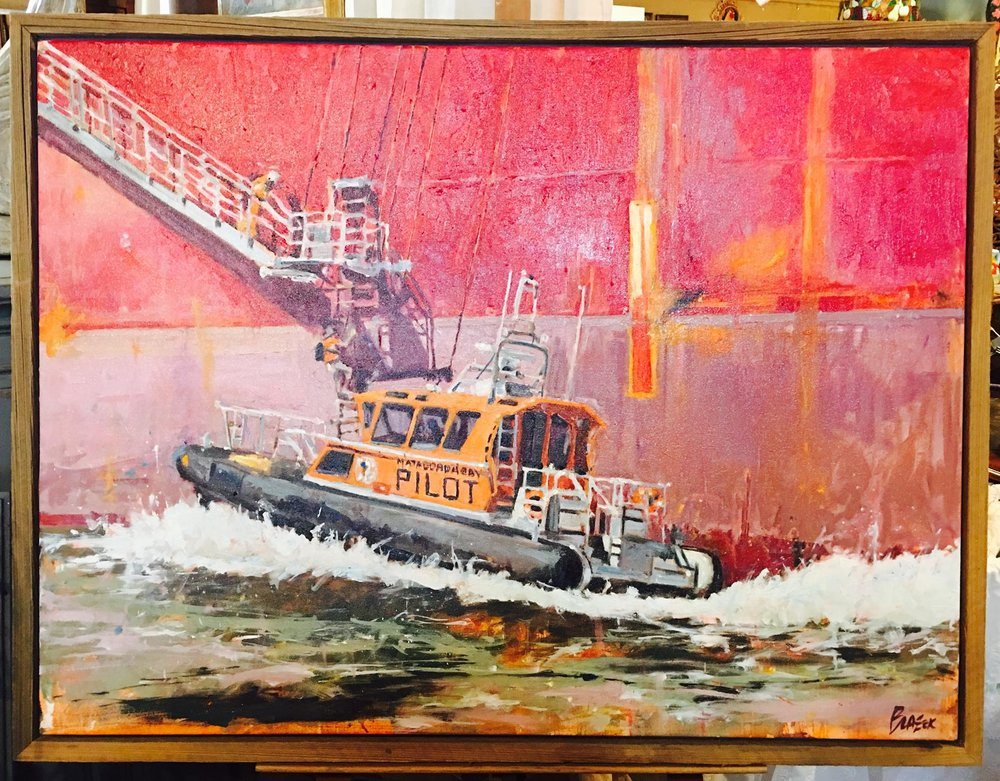 "Just arrived, beautiful new Joey Blazek ""Matagorda Pilot"", 36x48, priced at $3000. 2195 Calder Ave, Beaumont Tx, 77701, 309.835.3080.  #blazekoriginal   #burnsantikhaus   #shopsmall  #vintage"