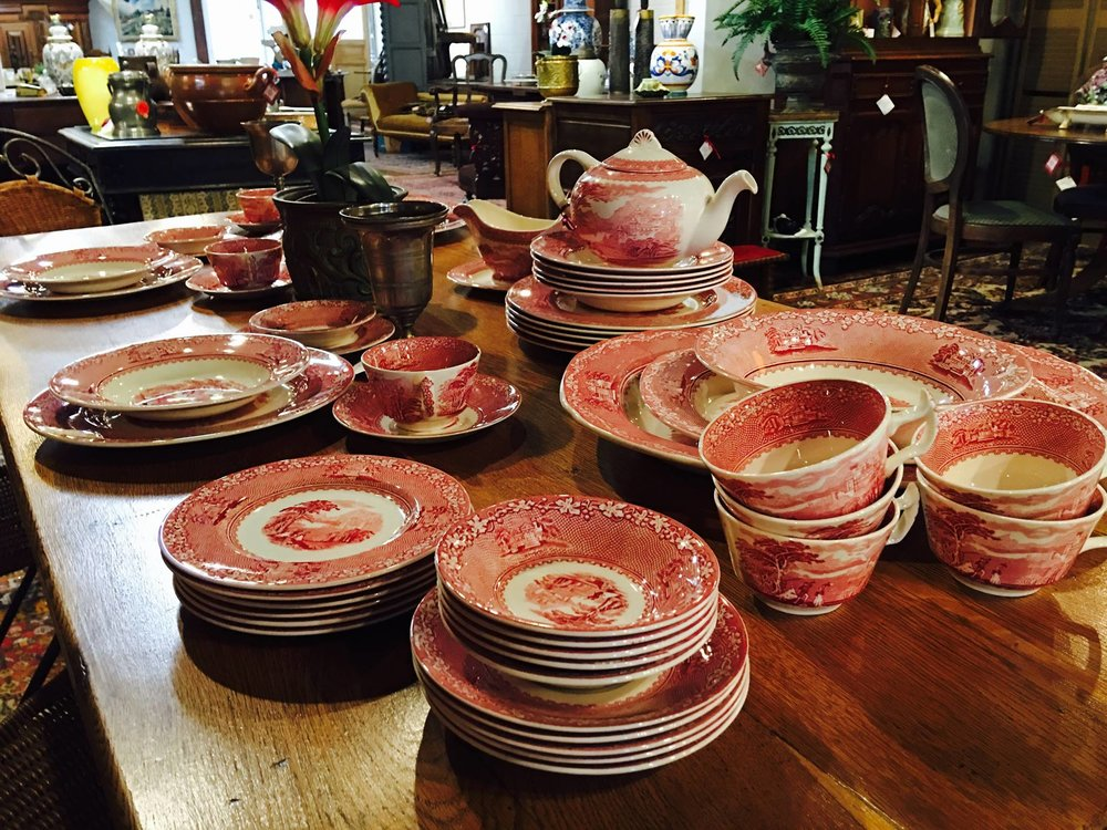 Just arrived, English Staffordshire Red Transferware, six piece service for 8 plus serving pieces, priced at $260!!! 2195 Calder Ave, Beaumont Tx, 77701, 409.835.3080.  #burnsantikhaus   #vintage   #europeanimporters