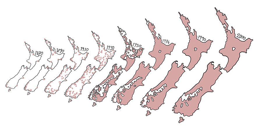 Pink colour indicates spread of possums throughout NZ between 1870-2000