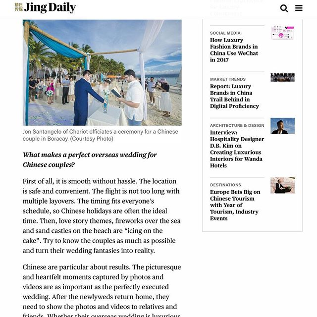 Check us out on JingDaily.com 😊#prrequest #beachwedding #weddingmedia